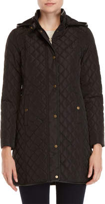 Lauren Ralph Lauren Quilted Faux Leather Trim Hooded Coat