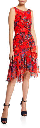 Marchesa Burnout Floral-Print Sleeveless Chiffon Dress w/ Cascading Side Ruffle