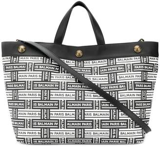 Balmain all over logo tote bag