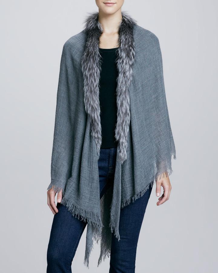 Sofia Cashmere Silver Fox Fur-Trimmed Cashmere Shawl, Gray