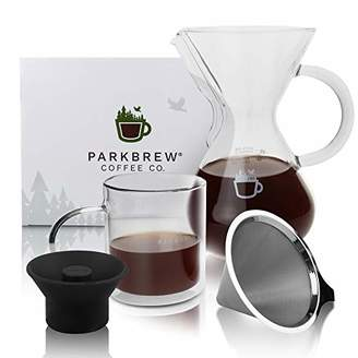 ParkBrew Pour Over Coffee Maker – kit includes coffee carafe (up to 27 fl. oz.)