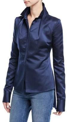 Brandon Maxwell Stand-Collar Satin High-Low Hem Blouse