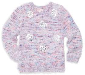 Design History Little Girl's Sequin Polka-Dot Knit Sweater