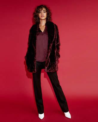 Express Textured Faux Fur Coat