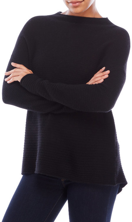 in cashmere Ottoman Hi-Low Cashmere Sweater