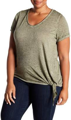 Planet Gold Burnout Tie Hem Tee (Plus Size)