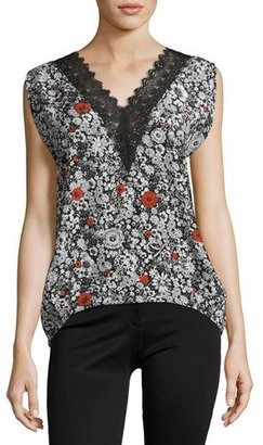 Zadig & Voltaire Trixy Floral Lace-Trim Sleeveless Top, Noir $298 thestylecure.com