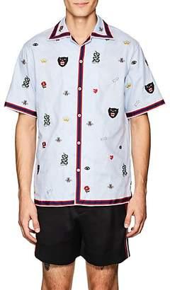 Gucci Men's Embroidered Cotton Bowling Shirt - Lt. Blue