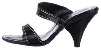 Tod's Leather Mid-Heel Sandals Black Leather Mid-Heel Sandals