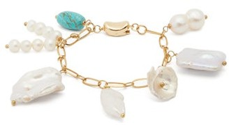 Timeless Pearly - Baroque Pearl & Turquoise Gold Plated Bracelet - Womens - Pearl