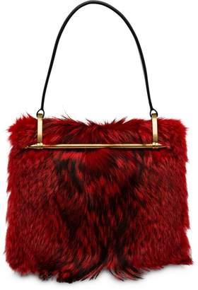 Prada Leather And Fur Shoulder Bag