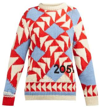 Calvin Klein Chunky Knit Intarsia Wool Blend Sweater - Womens - Red Multi