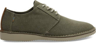 Tarmac Olive Washed Canvas Stitch Out Preston Mens Dress Shoes