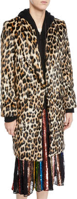 Alice + Olivia Kylie Hoodie Long Leopard Faux-Fur Coat