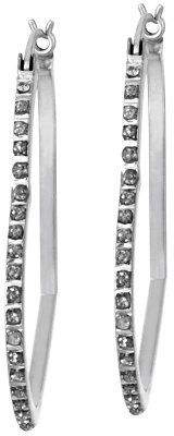 Diamond Fascination Sterling Heart Hoop Earrings