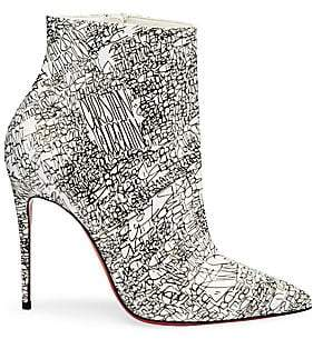 Christian Louboutin Women's So Kate 100 Calligraphy Print Leather Booties