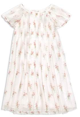 Ralph Lauren Girls' Pleated Floral Crepe Dress - Little Kid