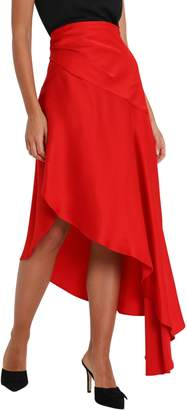 Monse Satin Asymmetric Skirt With Side Slit