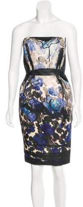 Lanvin Printed Strapless Dress
