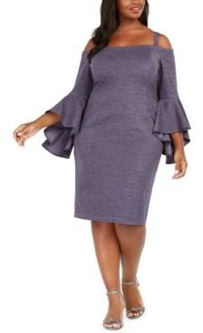 R & M Richards Plus Size Off-The-Shoulder Metallic Sheath Dress
