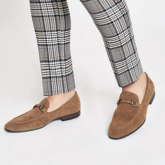 River Island Mens Tan faux suede snaffle loafers