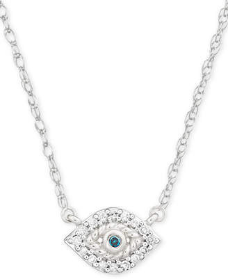 "Elsie May Diamond Accent Evil Eye Pendant Necklace in Sterling Silver, 15"" + 1"" extender"