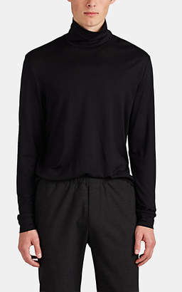 Theory Men's Funnel Silk-Cotton Slouch Turtleneck Top - Black