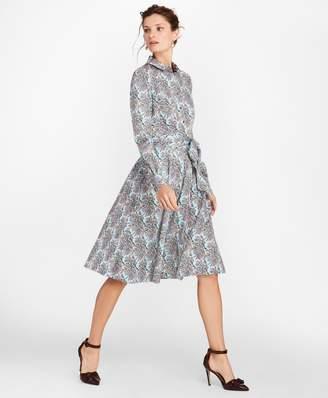 Brooks Brothers Mimosa Floral-Print Cotton Sateen Shirt Dress