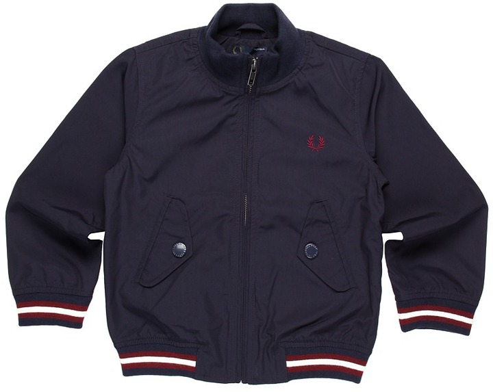 Fred Perry Tipped Microfiber Jacket (Toddler/Little Kids/Big Kids) (Navy) - Apparel