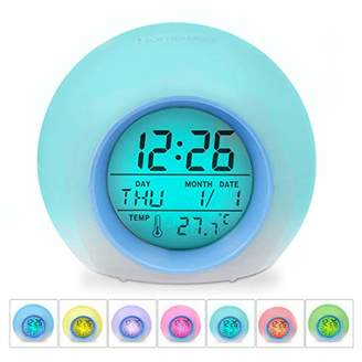 clear HAMSWAN Children Alarm Digital LED Clock with 7 Color Switch and 8 Ringtones for Bedrooms – Backlit Screen & Touch Control-with Snooze Function for Heavy Sleepers