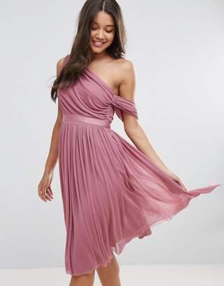 Asos Design Mesh Ribbon One Shoulder Prom Midi Dress