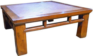 One Kings Lane Vintage Coffee Table with Woven Rattan Top