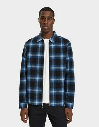 Stussy Zip Up Shadow Plaid Shirt in Blue