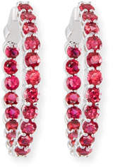 American Jewelery Designs Large Ruby Hoop Earrings