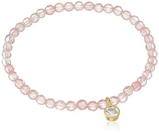 Satya Jewelry Cherry Quartz White Topaz Stretch Bracelet