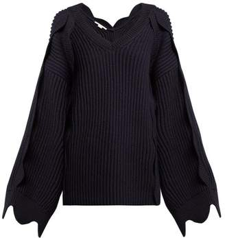 Stella McCartney Scallop Edged Cotton Blend Sweater - Womens - Navy
