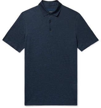 Ermenegildo Zegna Mélange Silk And Cotton-Blend Piqué Polo Shirt