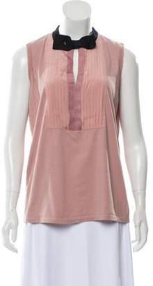 Lanvin Bow-Accented Sleeveless T-Shirt Mauve Bow-Accented Sleeveless T-Shirt