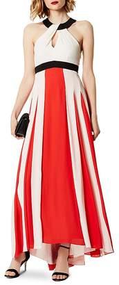 Karen Millen Color-Block Pleated Maxi Dress