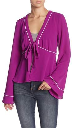 June & Hudson Tie Front Bell Sleeve Blouse