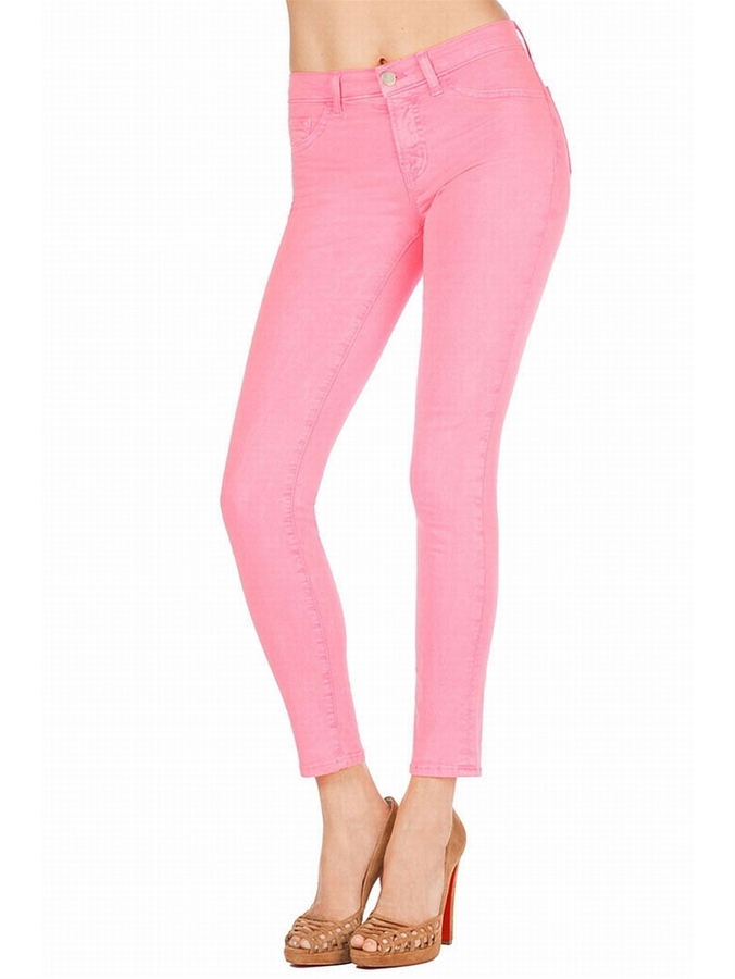 J BRAND 811 Mid-Rise Skinny Jean In Neon Pink