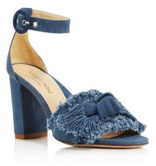 MARION PARKE Women's Larin Denim High Block-Heel Sandals