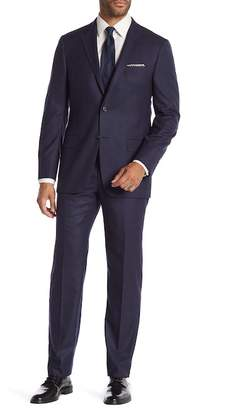 Hickey Freeman Blue Grid Two Button Notch Lapel Classic Fit Suit