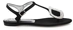 Roger Vivier Women's Thong Chips Crystal-Buckle Satin T-Strap Sandals