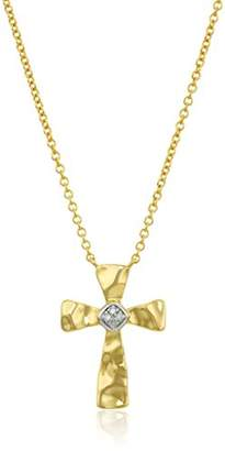 Silver Cross Yellow Plated Sterling Hammer Design Diamond Accent Necklace