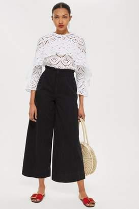 Topshop MOTO Wash Black Shirred Waist Jeans