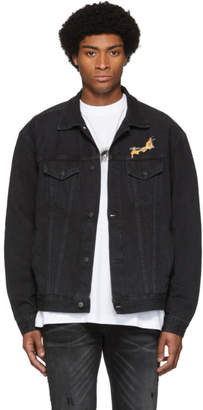 Marcelo Burlon County of Milan Black NBA Edition Denim Fireball Jacket
