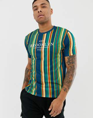 Asos DESIGN relaxed t-shirt with vertical stripe and city text print