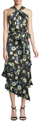 Derek Lam 10 Crosby Asymmetrical Floral Ruffle Halter Midi Dress