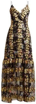 Saloni Ani floral fil coupé silk-blend dress